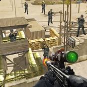 值班军队的狙击手射击图标