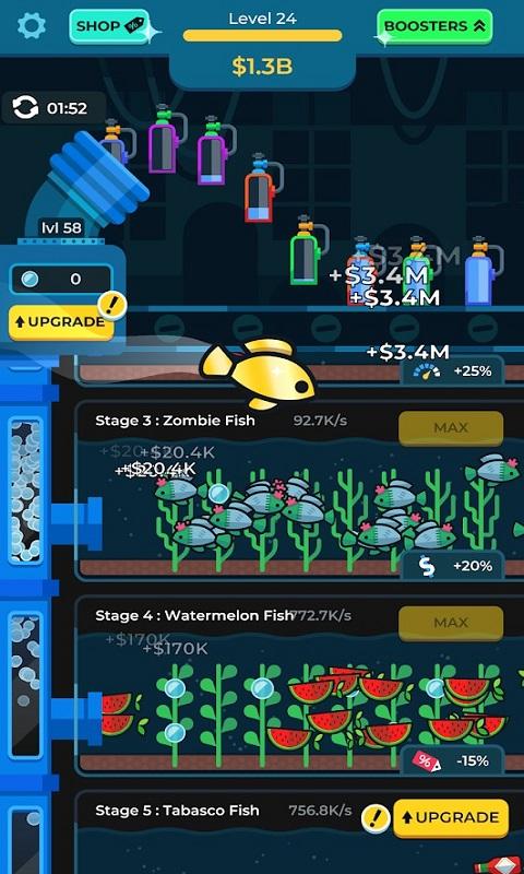 闲置水族馆无限金钱破解版游戏截图
