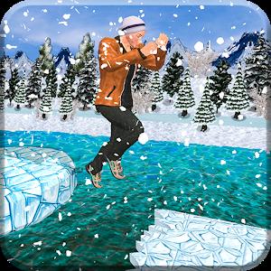雪人滑雪冒险图标