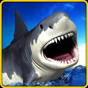 愤怒的鲨鱼模拟3D图标